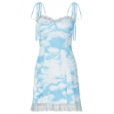 Womens Stylish Blue and White Tie-Dye Printed Self Tie Strap Lace Trim Mini A-Line Slip Dress