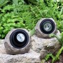 1 Piece Stone Pathway Solar Lawn Lighting Resin Decorative LED Ground Spotlight in Grey