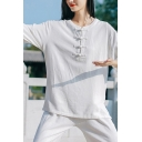 Retro Set Solid Color Long Sleeve Crew Neck Frog Button Relaxed Linen Tee Top & Pants Set for Women