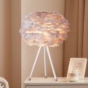 Floral Shaded Girls Bedside Table Light Feather Single Minimalistic Nightstand Lighting Ideas
