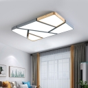 Nordic Style Rectangular Flushmount Acrylic Living Room LED Ceiling Mounted Light in Grey and Wood