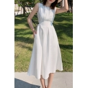 Womens Dress Creative Solid Color Waist-Control Midi Sleeveless Crew Neck A-Line Dress in White