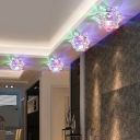 Decorative Lotus Ceiling Lighting Clear Crystal Entryway LED Flush Mount Light Fixture