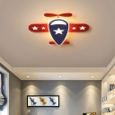 Red Plane Shaped Flush Light Cartoon LED Acrylic Ceiling Flush Mount Light for Baby Room