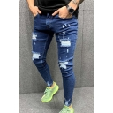 New Fashion Spray Painted Pleated Knee Patched Stretch Slim Fit Blue Ripped Jeans