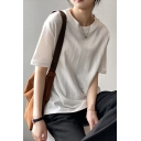 Basic Girls T Shirt Solid Color Short Sleeve Crew Neck Relaxed Fit T Shirt