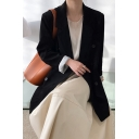Formal Womens Blazer Plain Long Sleeve Notched Collar Button Up Relaxed Fit Blazer Top