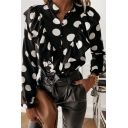 Work Womens Shirt Polka Dot Printed Ruffled Trim Long Sleeve V-neck Relaxed Fit Shirt Top