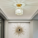 Gold Mini Semi Flush Light Simple Single Faceted Clear Crystal Prism Ceiling Mount Lamp for Aisle