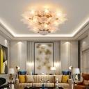 Frosted Glass Leaf Shaped Ceiling Light Modern 10-Bulb Gold Finish Semi Flush Mount Light
