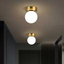 White Glass Sphere Ceiling Mount Light Simple Style 1 Bulb Gold Flushmount Light for Corridor