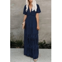 Womens Solid Color See-through Mesh Jacquard Maxi Pleated A-line Fancy Dress