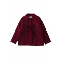 Kawaii Womens Coat Plain Long Sleeve Turn Down Collar Bow Tied Front Relaxed Fit Wool Coat