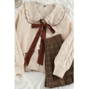Fancy Women's Three Piece Set Contrast Ruffle Hem Peter Pan Collar Button-down Long Sleeve Blouse Tie Front Cable Knit Ribbed Trim Cardigan with Tartan Print Pleated Mini A-Line Skirt