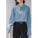Unique Women's Shirt Blouse Solid Color Button Closure Point Collar Long Sleeve Regular Fitted Shirt Blouse