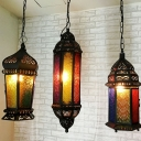 Black Lantern Hanging Lighting Vintage Hand-Crafted Glass Single Dining Room Pendulum Light
