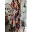 Classic Women's A-Line Dress Tribal Graphic Print V Neck Long Sleeve Maxi A-Line Dress