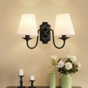 Black Finish Wall Mount Light Vintage Fabric Cone Shade Wall Light for Dining Room