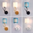 Antler Bedside Wall Sconce Lighting Country Metal 1 Bulb Wall Lamp Fixture with Cylindrical Fabric Shade