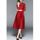 Retro Womens Dress Semi-Sheer Floral Pattern Long Sleeve Mandarin Collar Mid A-line Dress