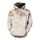 Fashion Mens Flower Print Sherpa Lined Long Sleeve Drawstring Loose Fit Apricot Hoodie with Pocket