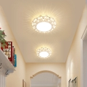 Hollowed-out Round LED Flush Mount Fixture Nordic Metal Vestibule Ceiling Light in White