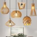 Modern Geometric Shape Pendulum Light Wooden 1 Bulb Restaurant Pendant Lamp in Beige