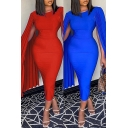 Glamorous Womens Dress Pleated Long Sleeve Crew Neck Solid Color Midi Bodycon Dress