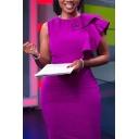 Womens Amazing Dress Purple Bi-layered Crew Neck Single Sleeve Midi Tight Dress