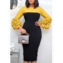 Gorgeous Womens Dress Ruched Long Sleeve Crew Neck Button Up Colorblock Midi Bodycon Dress