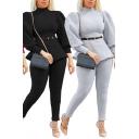 Edgy Girls Set Ribbed Puff Sleeve Mock Neck Belted Slim Fit T Shirt & Leggings Plain Set