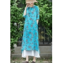 Fancy Womens Dress Linen and Cotton Ditsy Floral Printed Half Sleeve Crew Neck Slit Side Mid A-line Dress in Light Blue