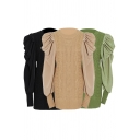 Elegant Womens Dress Plain Patched Cable Knit Puff Sleeve Crew Neck Short Fitted Dress