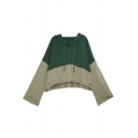 Fashion Girls Hoodie Contrasted Panel Long Sleeve Drawstring Loose Fit Hoodie in Green
