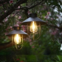 2 Pcs Conical Solar Suspension Lighting Simplicity Iron Garden LED Pendant Light with Cage and Handle in Black