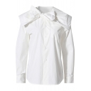 White Pretty Shirt Bow Tied Neck Long Sleeve Button Up Relaxed Fit Shirt Top for Ladies