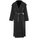 Fashion Womens Coat Quilted Long Sleeve Turn Down Collar Chain Waist Longline Loose Fit Coat in Black