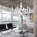 Metal Candelabra Suspension Light Retro Style 6 Heads Living Room Chandelier Light in White