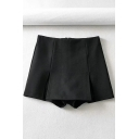 Formal Girls Shorts High Rise Checkered Print Relaxed Fit Shorts in Black