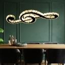 K9 Crystal Musical Note Pendant Light Modernist Black LED Ceiling Suspension Lamp for Dining Room