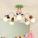Animal Chandelier Light Kids Style Metal Kindergarten Hanging Lighting in Orange