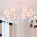 Cartoon Conical Chandelier Fabric Kids Bedroom Hanging Light with Animal Decor in White