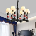 Black and Red Trooper Chandelier Light Creative Resin Suspension Lighting with Pleated Fabric Empire Shade