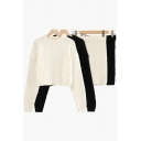 Stylish Solid Set Knitted Long Sleeve Crew Neck Relaxed Crop Sweater & Skirt Set for Women
