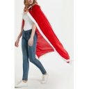 Fashion Womens Red Coat Contrasted Hooded Maxi Loose Fit Coat