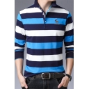 Trendy Horse Logo Print Chest Mens Casual Striped Long Sleeve Business Polo Shirt
