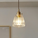 Industrial Tapered Ceiling Light Single Clear Glass Hanging Pendant Light for Restaurant