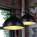 Black Bowl Shaped Pendulum Light Industrial Metal Single Dining Room Hanging Lamp with Frosted Glass Diffuser