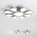 Flower LED Semi-Flush Ceiling Light Nordic Style Acrylic Living Room Flush Mount Lamp