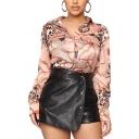 Chic Womens Shirt Tassel Chain Animal Skin Pattern Single Breasted Long Sleeve Turn-down Collar Loose Fit Shirt